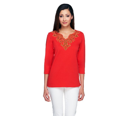 Bob Mackie's 3/4 Sleeve Scallop V- Neck Tunic with Bead Detail
