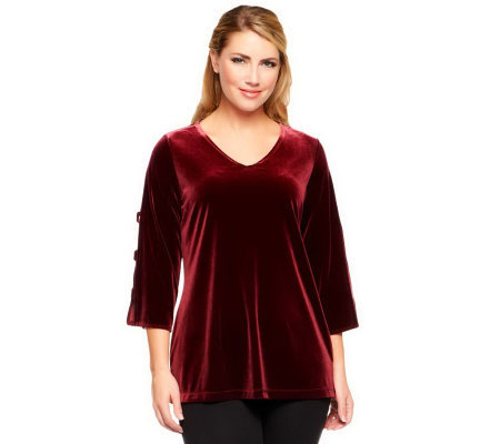 Susan Graver Knit Velvet Top w/ Sequin Banded Split 3/4 Sleeves