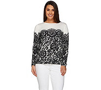 Bob Mackie's Long Sleeve Printed Lace Pullover Sweater - A239162