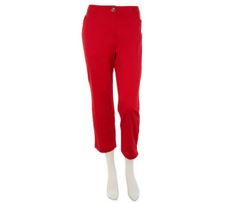 """As Is"" Susan Graver Solid Cotton Sateen Zip Front Crop Pants"