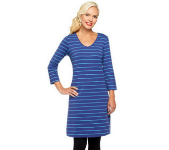 Liz Claiborne New York 3/4 Sleeve Striped Knit Dress - A240862
