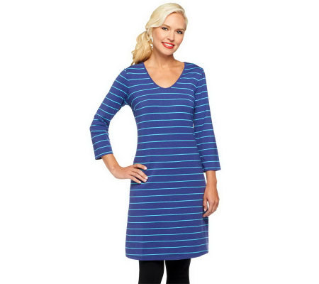 Liz Claiborne New York 3/4 Sleeve Striped Knit Dress