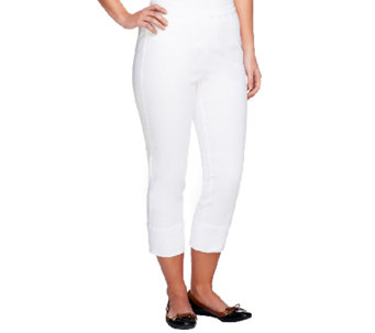 Joan Rivers Signature Crop Pants with Side Zip Closure - A252762