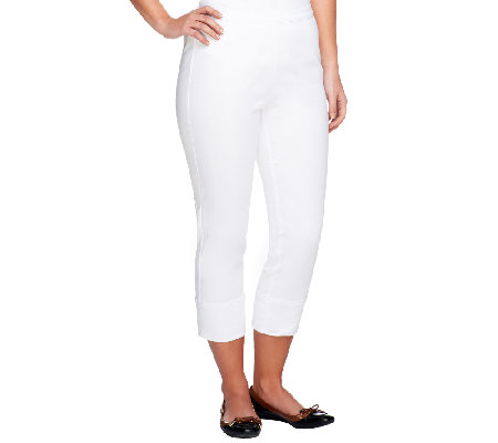 Joan Rivers Signature Crop Pants with Side Zip Closure