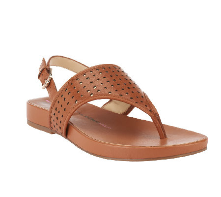 Isaac Mizrahi Live! Leather Cutout Sandals
