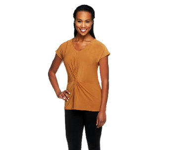 Women with Control Twist Front Jersey Knit V-neck Top - A253962