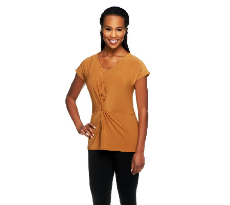 Women with Control Twist Front Jersey Knit V-neck Top