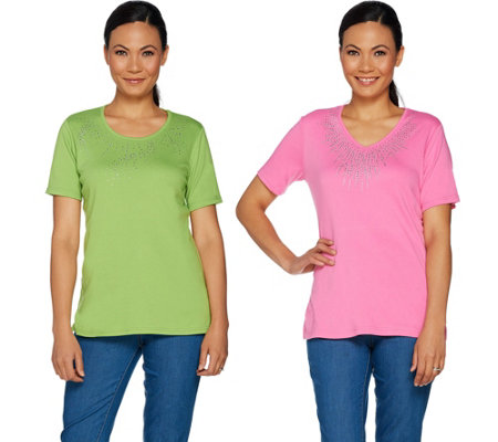 Quacker Factory Set of Two Rhinestone Short Sleeve T-shirts
