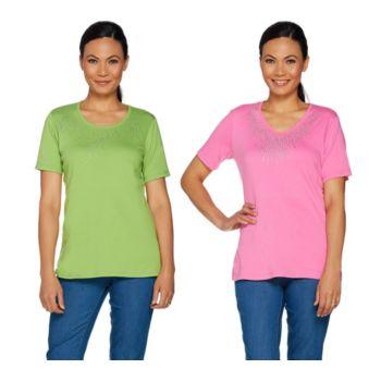 Quacker Factory Set of Two Rhinestone Short Sleeve T-shirts