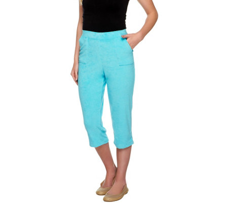 Susan Graver Terry Cloth Pull-on Capri Pants with Pockets