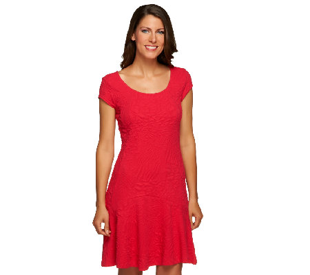 Isaac Mizrahi Live! Knit Dress with Fluted Hem