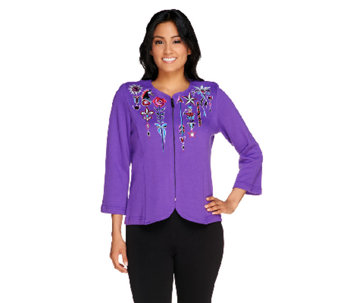 Bob Mackie's Embroidered Zip Front Jubilation Knit Cardigan - A256962