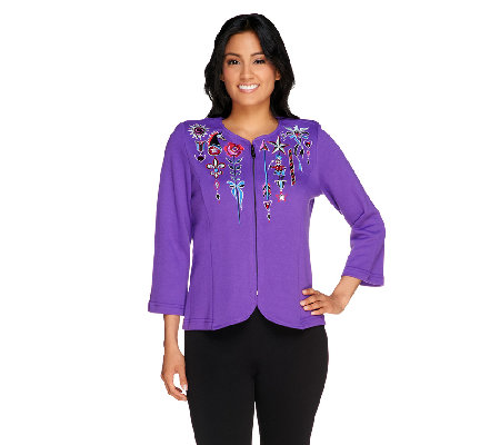 Bob Mackie's Embroidered Zip Front Jubilation Knit Cardigan