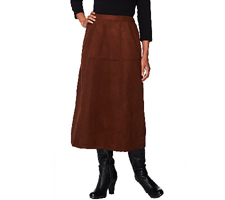 Joan Rivers Petite Look of Suede Mid-Calf Riding Skirt
