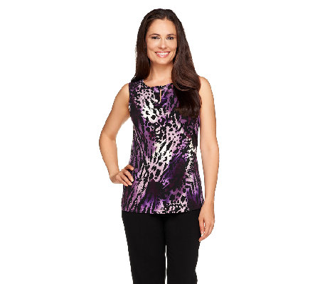 Susan Graver Printed Liquid Knit Tank with Ruched Keyhole