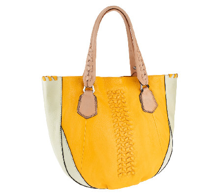 """As Is"" orYANY Lyssie Soft Pebbled Leather Color-Block Tote"