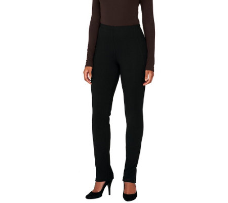 Women with Control Petite Slim Leg Pants with Faux Leather