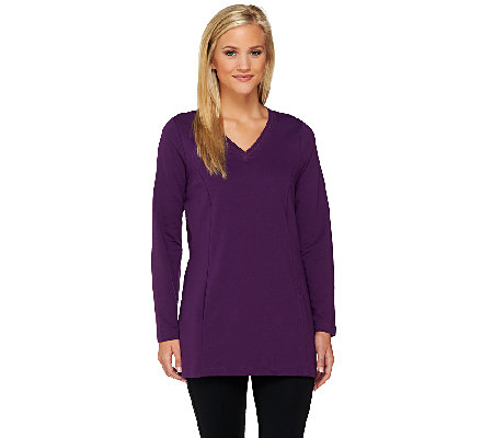 Denim & Co. Active French Terry Tunic w/ Stitch Detail