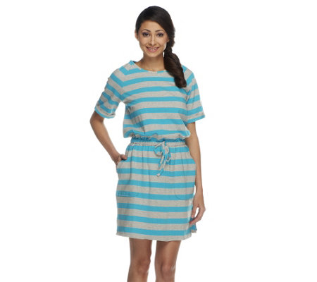 """As Is"" Denim & Co. Beach Perfect Jersey Striped Cover-up Tunic"