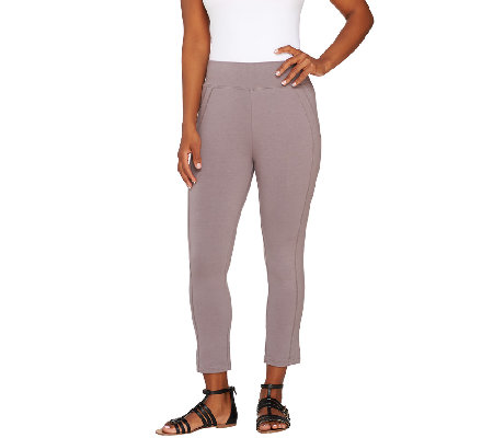 LOGO by Lori Goldstein Regular Crop Leggings with Seam Detail