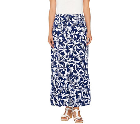 Denim & Co. Printed Jersey Skirt with Flounce