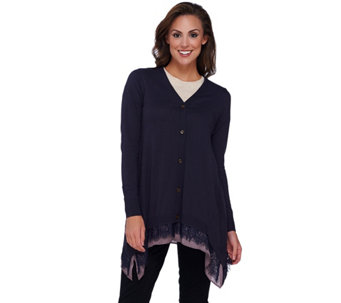 LOGO by Lori Goldstein Cotton Cashmere Cardigan with Trim Detail - A266762