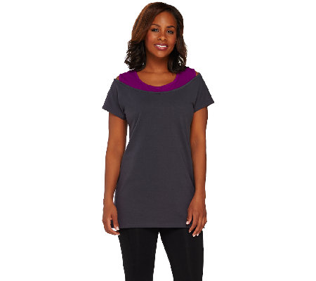 Denim & Co. Active Jersey Tunic with Faux Tank Top
