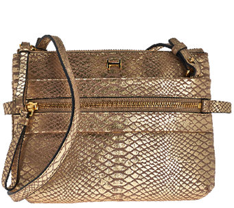 H by Halston Metallic Python Embossed Crossbody Handbag - A269762