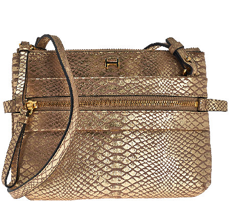 H by Halston Metallic Python Embossed Crossbody Handbag