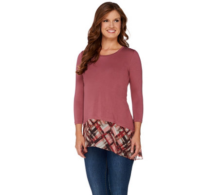 LOGO by Lori Goldstein Knit Top with Plaid Chiffon Asymmetric Hem