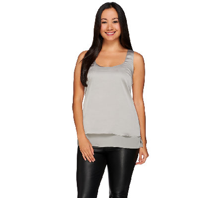 H by Halston Woven Double Layer Sleeveless Top