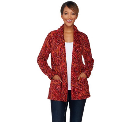 Liz Claiborne New York Printed Fleece Open Front Cardigan