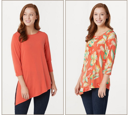 """As Is"" Susan Graver Print & Solid Set of 2 Liquid Knit Tops"