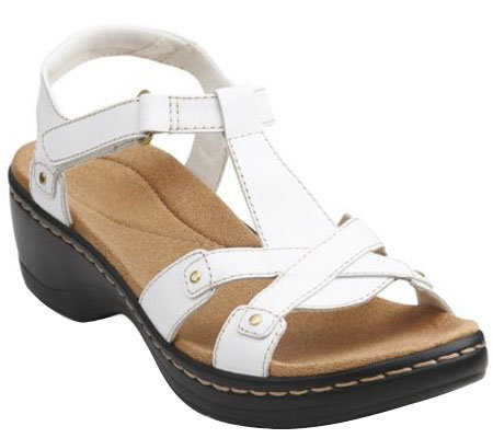 """As Is"" Clarks Leather T-strap Sandals w/ Back Strap - Hayla Flute"