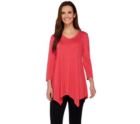LOGO Layers by Lori Goldstein V-neck Knit Top with Asymmetric Hem