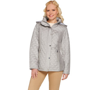 Liz Claiborne New York Quilted Snap Front Jacket w/ Hood - A273562