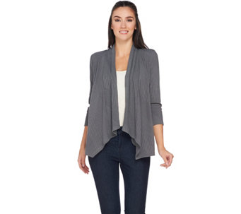 Joan Rivers Drape Front Ribbed Knit Cardigan - A273762