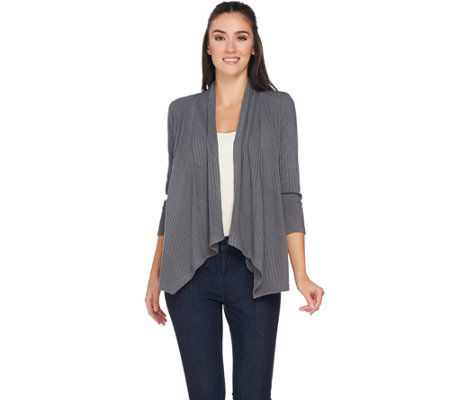 Joan Rivers Drape Front Ribbed Knit Cardigan