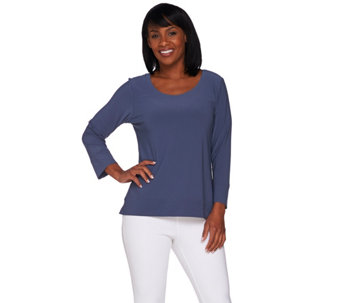 Linea by Louis Dell'Olio 3/4 Sleeve Moss Crepe Top - A273862