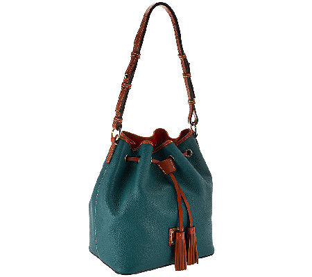 """As Is"" Dooney & Bourke Kendall Pebbled Leather Large Drawstring Bag"