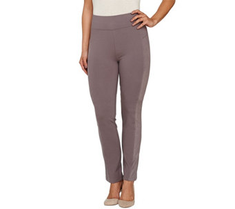 """As Is"" LOGO by Lori Goldstein Ponte Knit Pants with Faux Suede Panels - A276262"