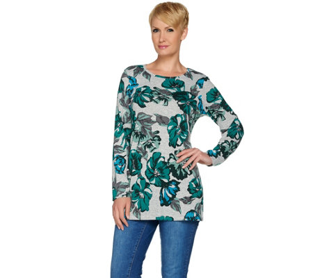 Denim & Co. Long Sleeve Floral Printed Round Neck Tunic