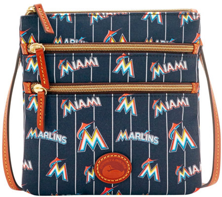 Dooney & Bourke MLB Nylon Marlins Triple Zip Crossbody
