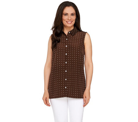 """As Is"" Susan Graver Printed Peachskin Sleeveless Shirt"