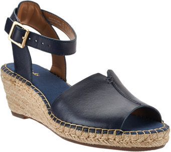 """As Is"" Clarks Artisan Leather Espadrille Wedge Sandals - A283862"