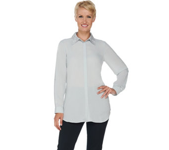 Joan Rivers Silky Blouse with Embellished Collar - A284162