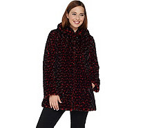 Dennis Basso Woven Rosette Faux Fur Coat with Hood - A284862