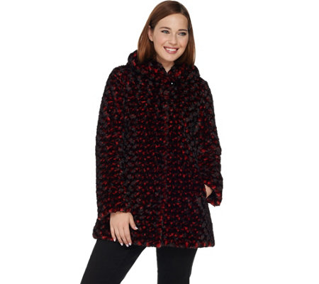 Dennis Basso Woven Rosette Faux Fur Coat with Hood