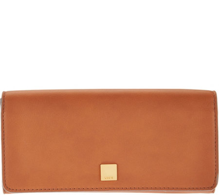 LODIS Italian Leather Flap Clutch Wallet with RFID Protection