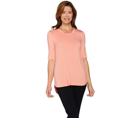 H by Halston Essentials Scoop Neck Elbow Sleeve Knit Top